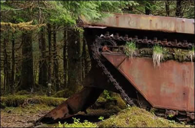 This vehicle was designed for amphibious warfare operations in the late 1930's, although it came to Yakutat in 1965 to transport salmon from catch to fishing tenders.