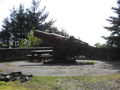 A two-gun 6-inch naval gun battery protected the military airfield here from positions on what is now known as Cannon Beach. A four-gun 155mm battery on Panama mounts was located at Point Carrew.